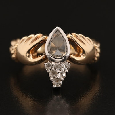 14K Diamond Claddagh Ring