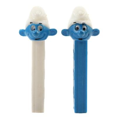 """PEZ """"Smurfs"""" No Feet Candy Dispensers, 1980s"""
