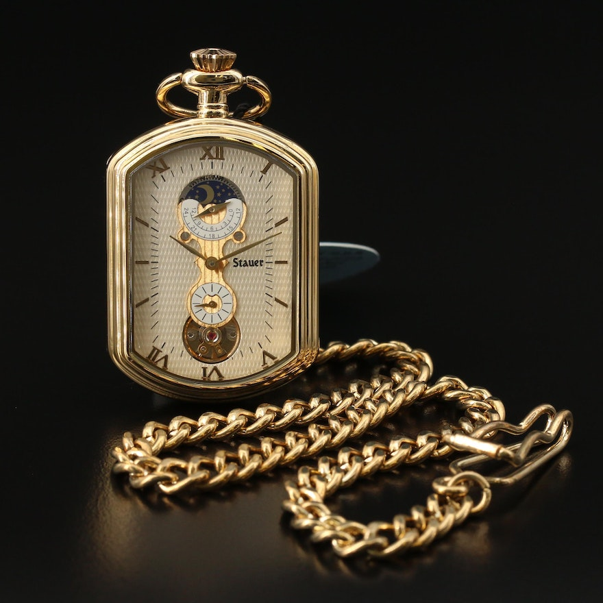 "Strauer Unusual ""Moonphase"" Pocket Watch with Chain Fob"