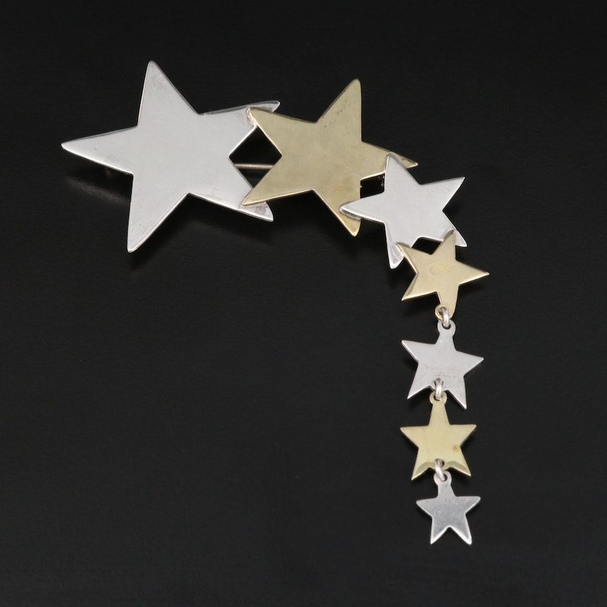 Mexican Sterling Silver Graduated Star Brooch