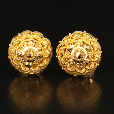 22K Stud Earrings with Rope Detail and Granulation