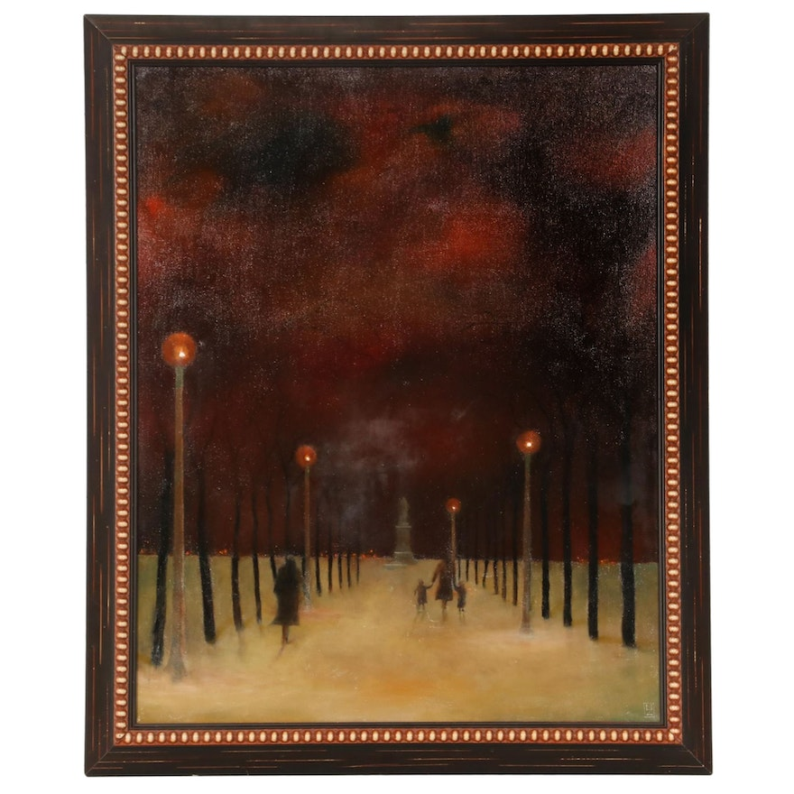 """N. Zimmerman Oil Painting """"Ben Franklin in Winter,"""" Late 20th to 21st Century"""