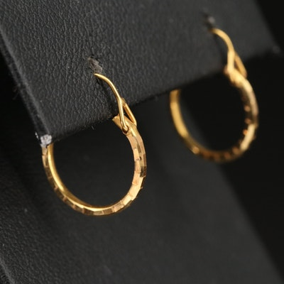 18K Diamond Cut Faceted Hoop Earrings