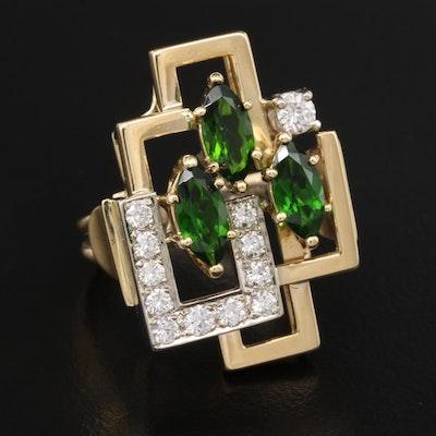 14K Tourmaline and Diamond Ring with Geometric Design
