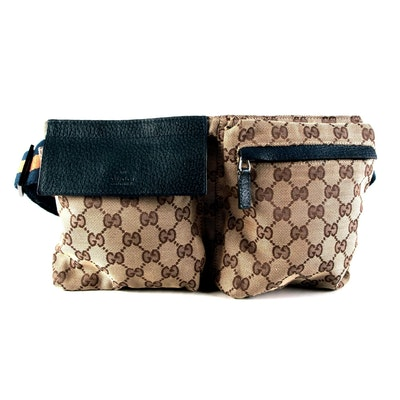 Gucci GG Canvas and Leather Belt Bag with Blue/Orange Stripe Web Band