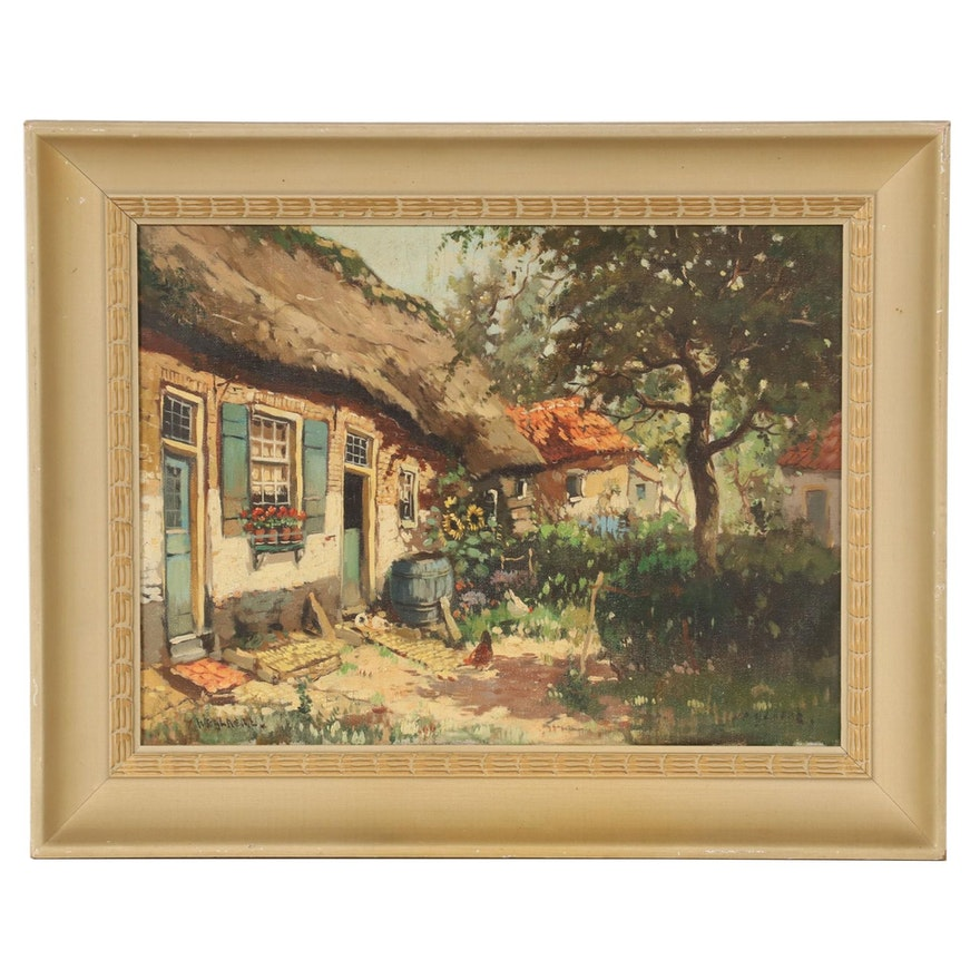 Oil Painting of Thatched Roof Cottage with Chickens, Mid-20th Century