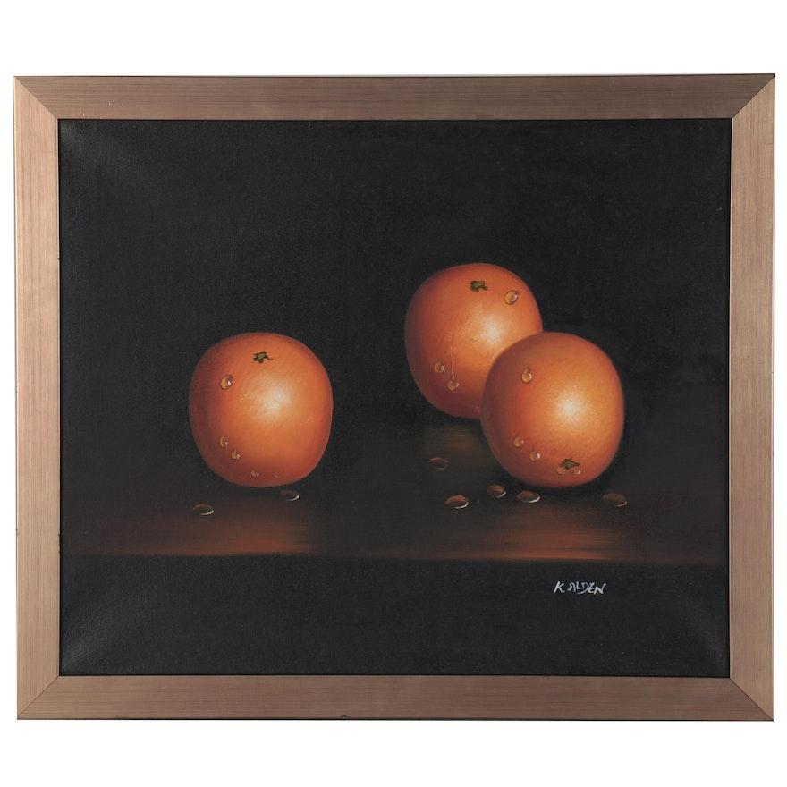 "Still Life Oil Painting ""Orange Delight,"" 21st Century"
