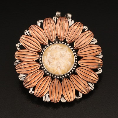 Carolyn Pollack for Relios Sterling and Copper Calcite Watch Pin