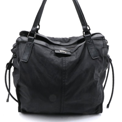 Burberry Buckleigh Packable Tote in Black Nylon and Leather