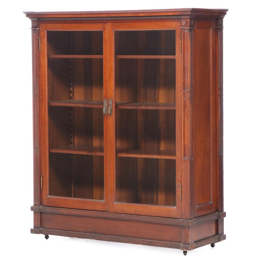 American Cherrywood Glazed-Door Bookcase, circa 1900