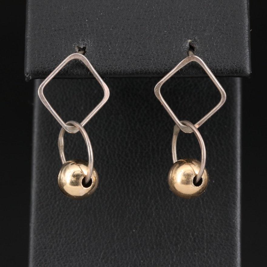 Sterling Silver and 10K Geometric Dangle Earrings