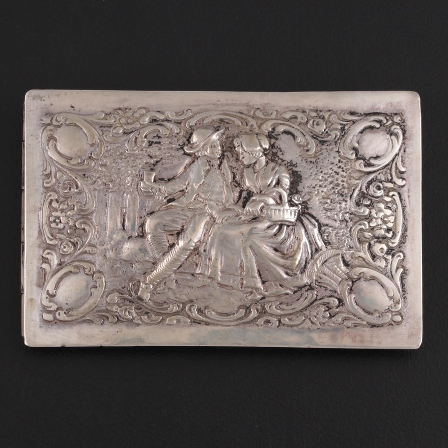German Repoussé 800 Silver Snuff Box, Late 19th/Early 20th Century