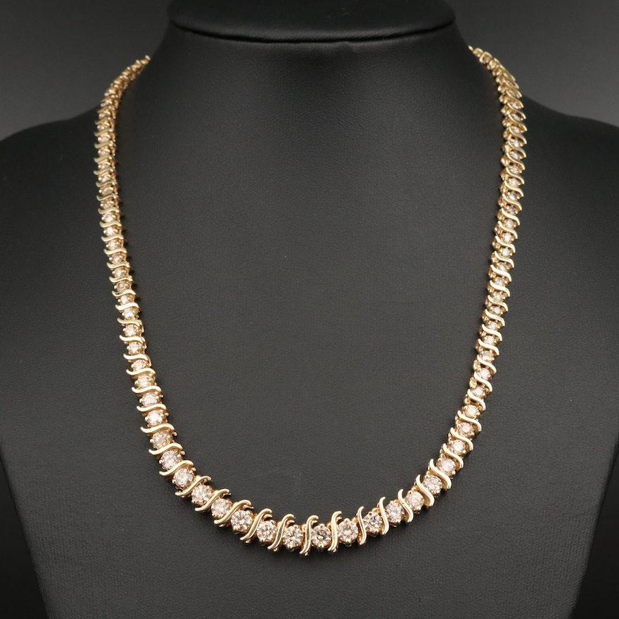"14K Graduated 9.04 CTW Diamond ""S"" Link Necklace"