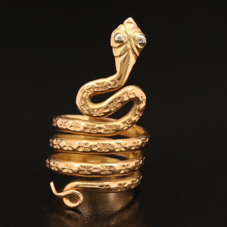 18K Coiled Snake Wrap Ring