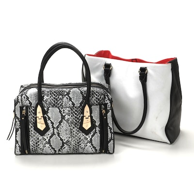 Apt. 9 Faux Leather Color Block Satchel and Faux Snakeskin Satchel