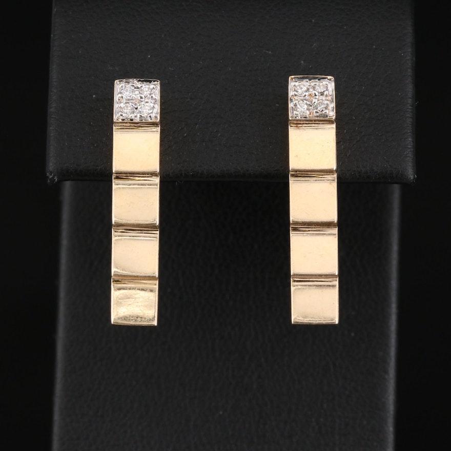 14K Diamond Stepped Earrings