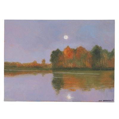 Sulmaz H. Radvand Moonlit Landscape Acrylic Painting