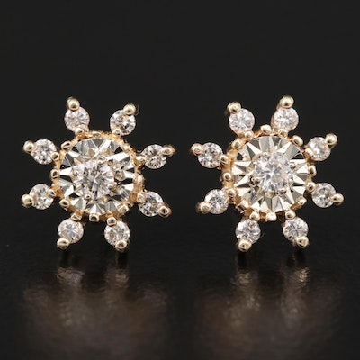14K Diamond Flower Stud Earrings