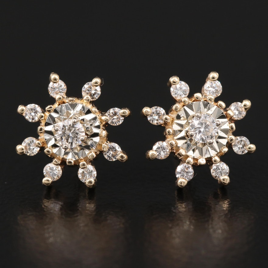 14K Diamond Flower Stud Earrings