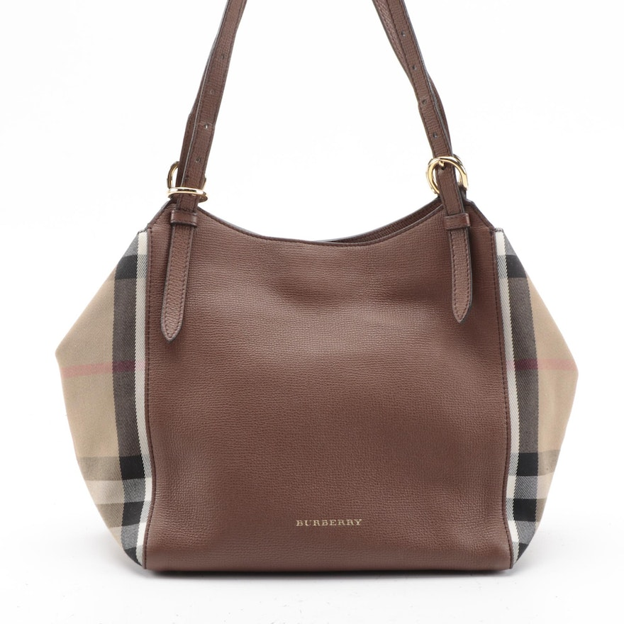 "Burberry Canterbury Shoulder Tote in Brown Leather and ""House Check"" Canvas"