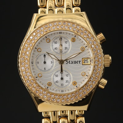 "Stauer ""Brilliante Diamond Cura"" Chronograph Stainless Steel Quartz Wristwatch"