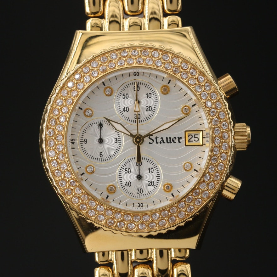 "Stauer ""Brilliante Diamond Cura"" Chronograph Stainless Steel Quartz Wristwatch"