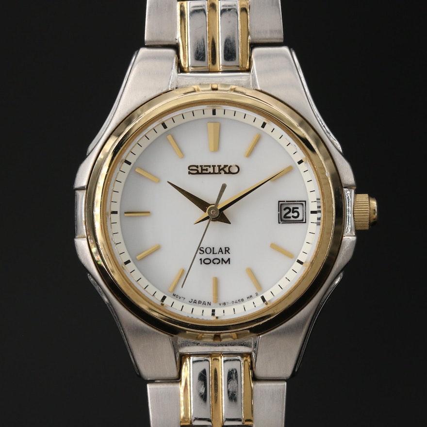 Seiko Solar Two Tone Stainless Steel Quartz Wristwatch