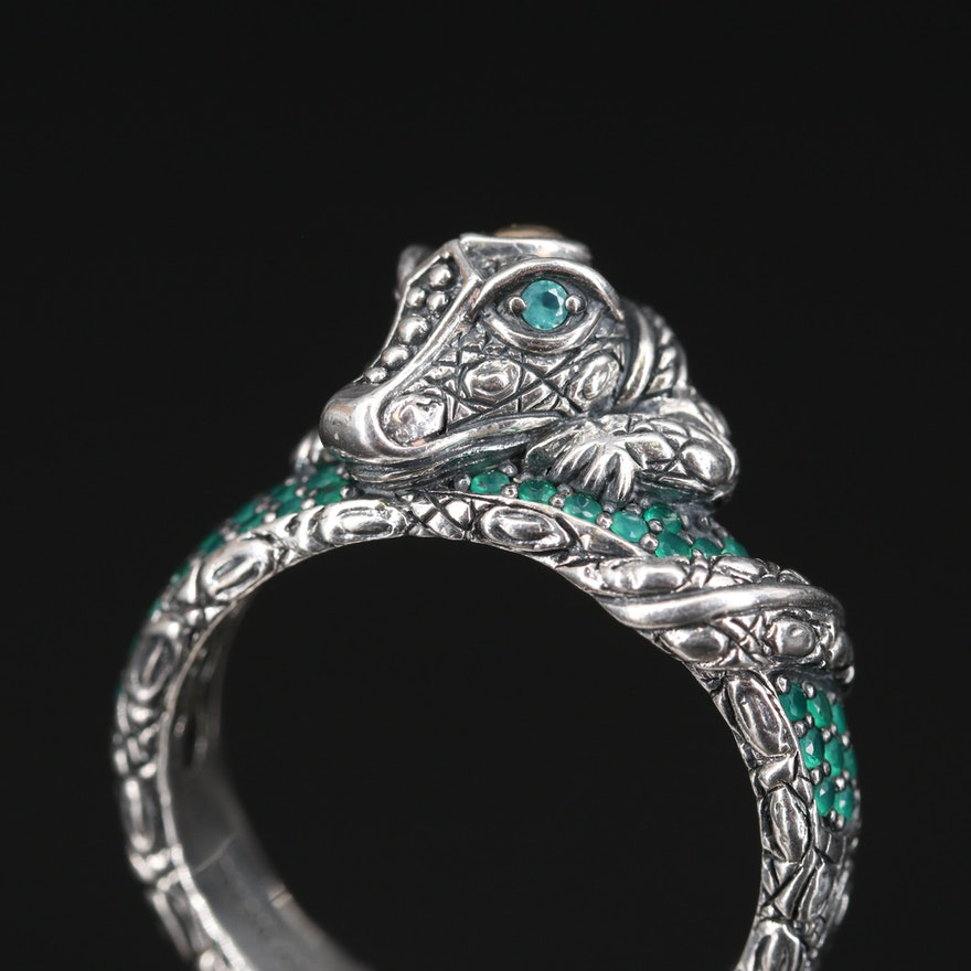 Jai by John Hardy Sterling Chalcedony Alligator Ring with 14K Accents
