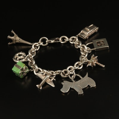 Tiffany & Co. Sterling Charm Bracelet with Pretzel and Scottish Terrier Charms