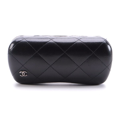 Chanel CC Black Quilted Leather Hinged Eyeglass Case