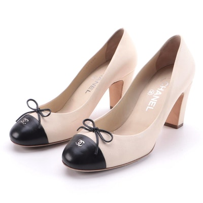 Chanel CC Ballerina Style Cap-Toe Pumps in Beige and Black Leather with Box