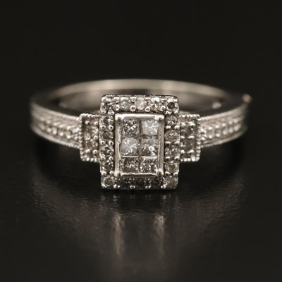 10K Diamond Halo Ring