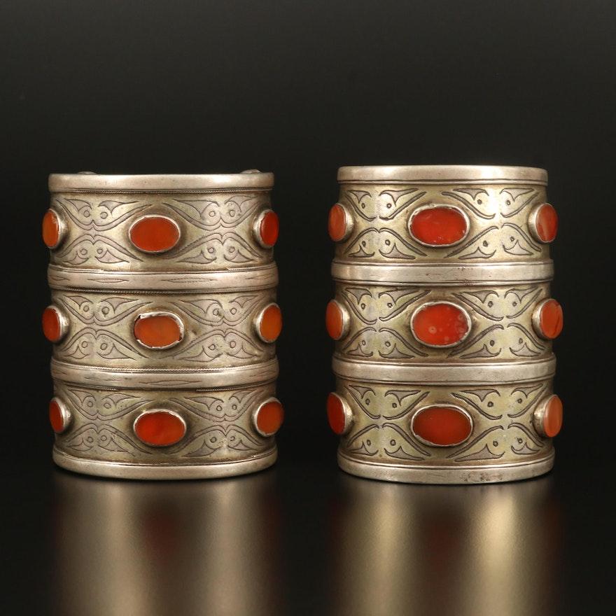 Turkmen Sterling and 800 Silver Carnelian Bilezik Armbands