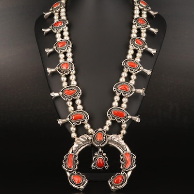 Western Style Sterling Coral Squash Blossom Necklace with Naja