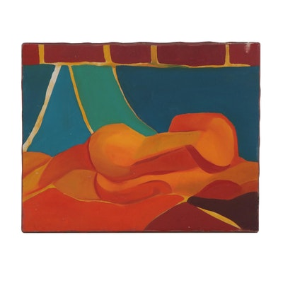 "Abstract Acrylic Painting ""Nude Study in Color,"" Late 20th Century"