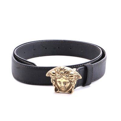 Versace Palazzo Black Leather Belt with Medusa Head Logo Buckle