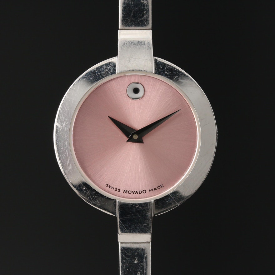 Movado Pink Dial Museum Piece Stainless Steel Wristwatch