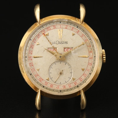 Vintage LeCoulte Triple Calendar 14K Gold Stem Wind Wristwatch