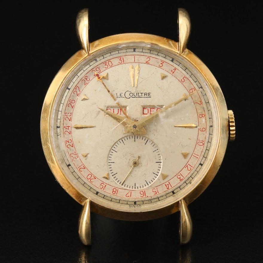 Vintage LeCoulte Triple Calendar 14K Gold Stem Wind Wristwatch