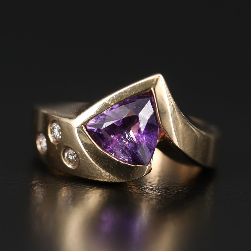 14K Amethyst Ring with Gypsy Set Diamond Accents