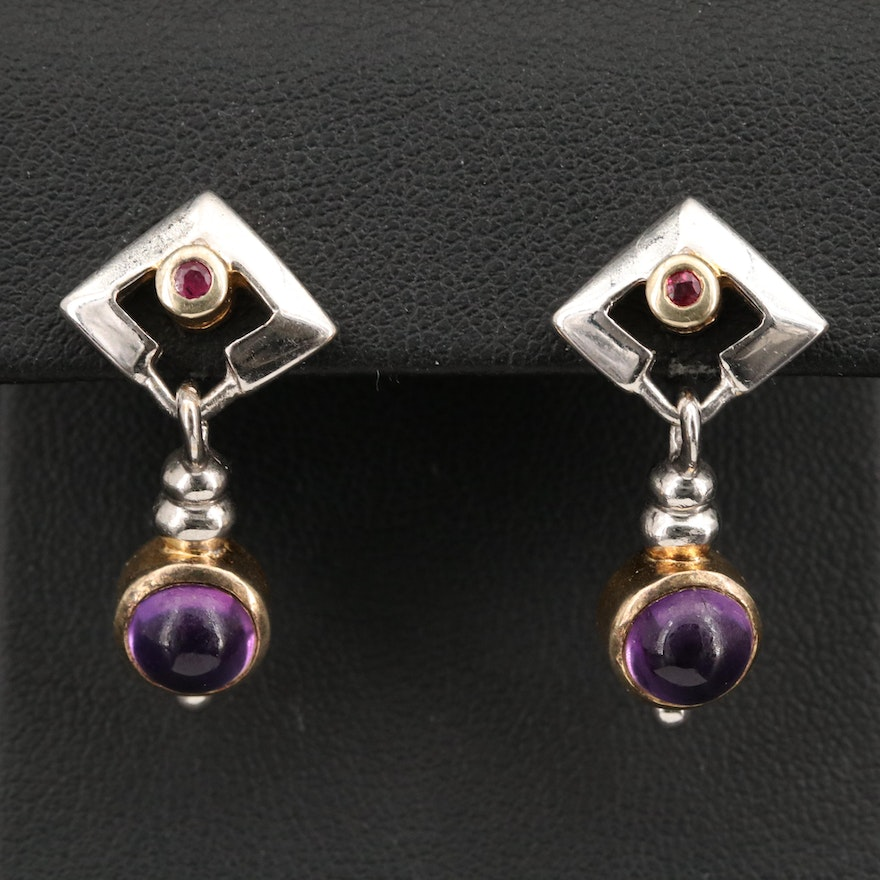 800 Silver Amethyst and Ruby Dangle Earring