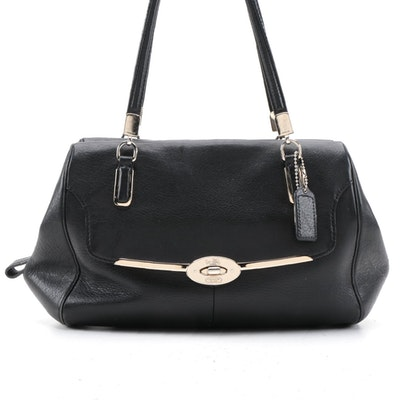 Coach Madeline Satchel in Black Grained Leather