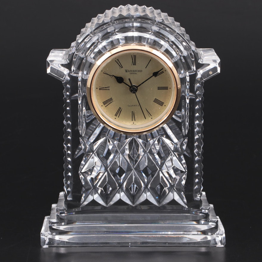 """Waterford Crystal """"Lismore"""" Quartz Carriage Clock, Late 20th Century"""