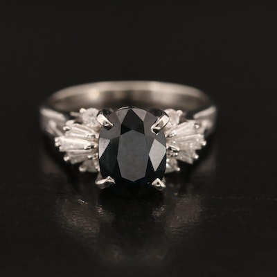 Platinum 1.79 CT Sapphire and Diamond Ring