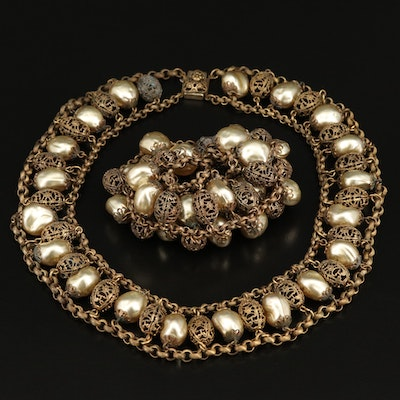 Vintage Necklace and Bracelet Set with Faux Pearl and Openwork Style Beads