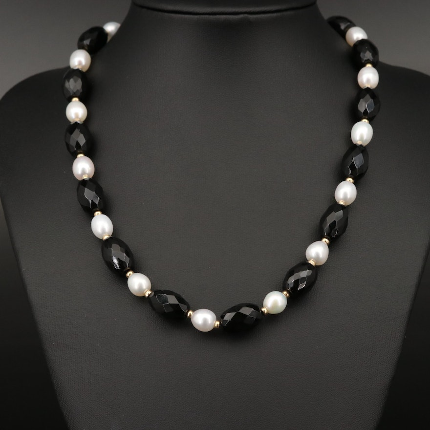 Zoë B. Faceted Black Onyx and Pearl Necklace with 14K Beads and Clasp
