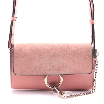 Chloé Small Faye Shoulder Bag in Rusty Pink Smooth and Suede Calfskin Leather