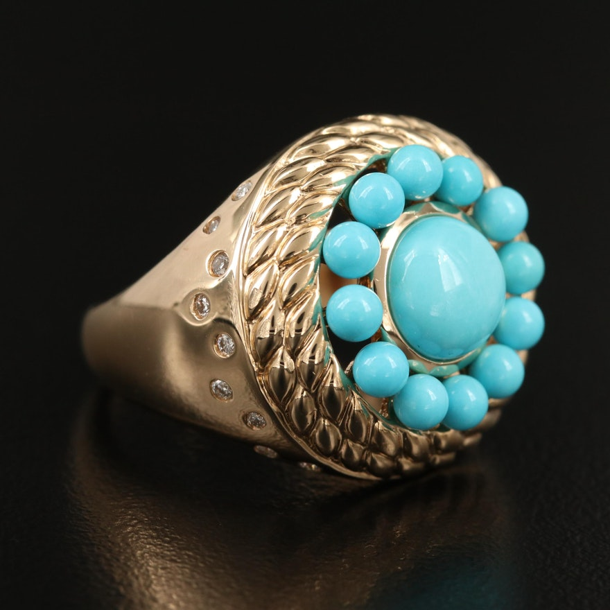 14K Turquoise and Diamond Ring with Braided Edge