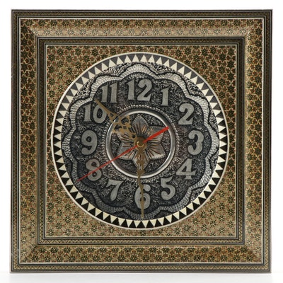 Decorative Mixed Media Decoupage Battery Operated Wall Clock, Late 20th C.