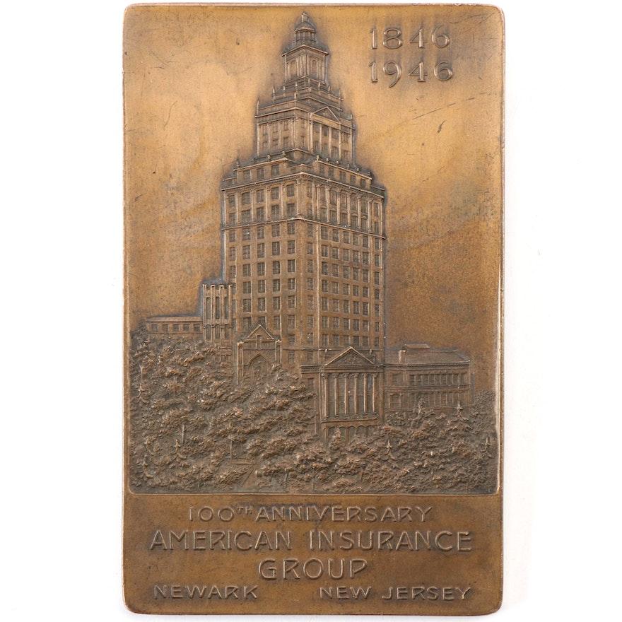 "American Insurance ""100th Anniversary"" Bronze Paperweight"